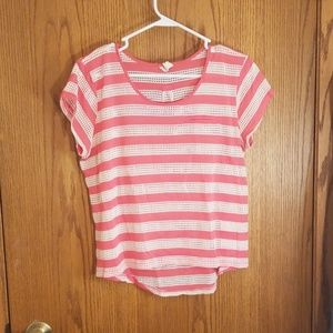 Pink and white striped tshirt